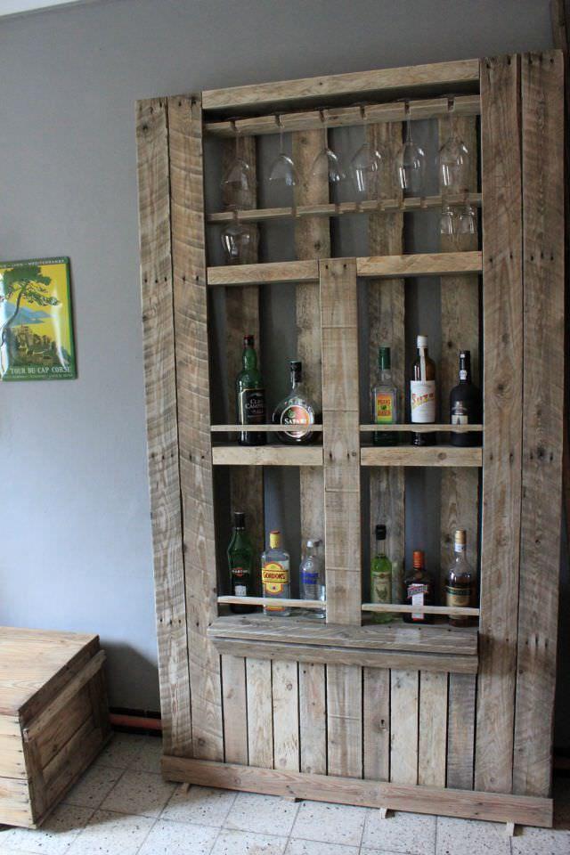 Pallet Bar #PalletBar, #PalletCabinet, #RecycledPallet