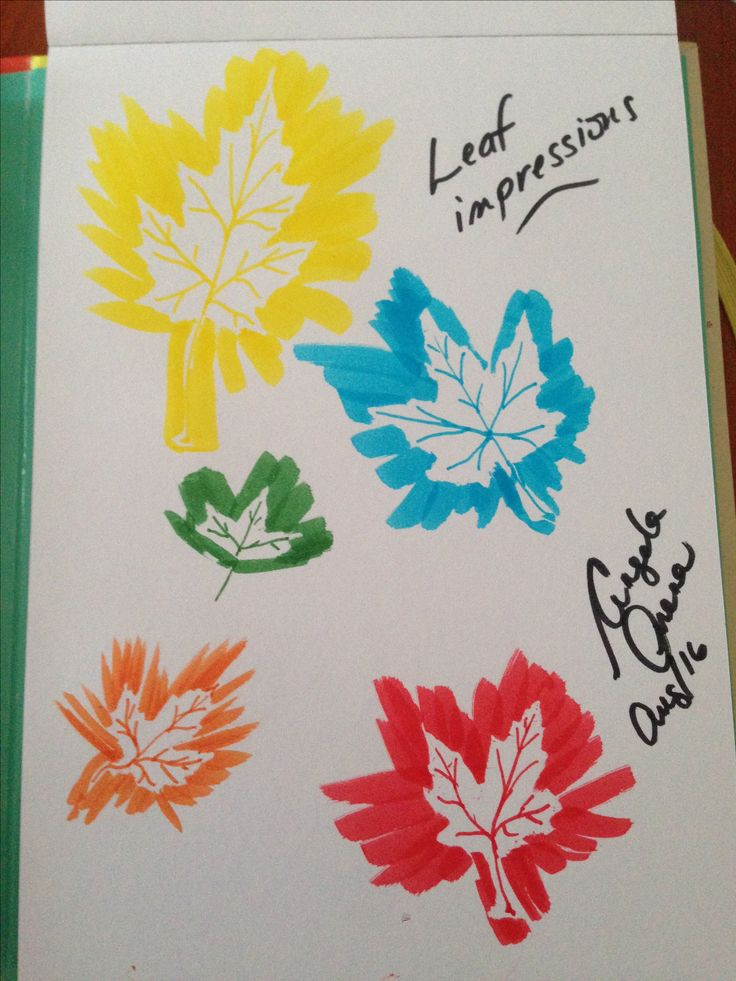 Leaf impressions with watercolour markers.  Great fall activity with kids
