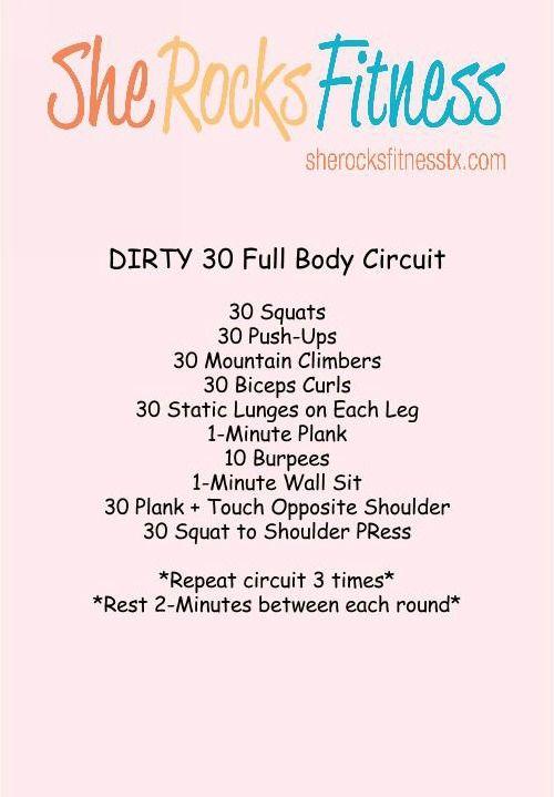 Dirty 30 #sheROCKS workout!                                                                                                                                                                                 More
