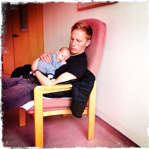 Laurence Fox with his son.