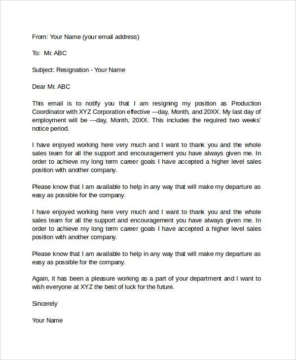 Letter Of Resignation Email   template   Professional resignation ...