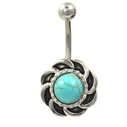 Vintage Circular Swirl w/Turquoise Centerpiece Belly Ring (Non-Dangle) - Jewelry For Her