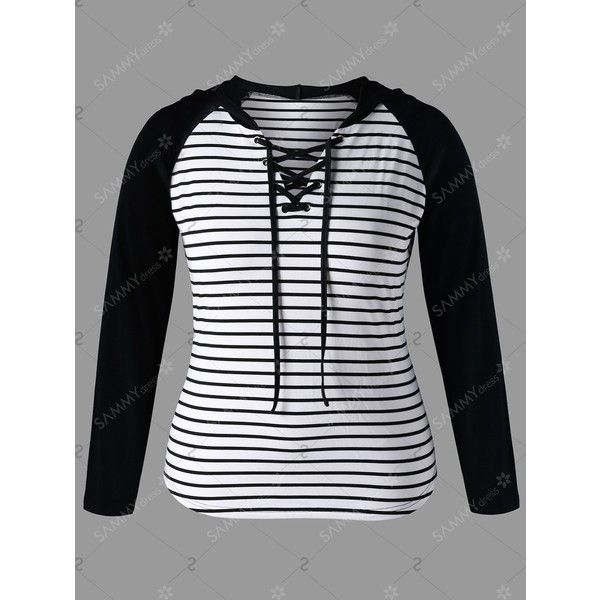Lace Up Plus Size Stirped Insert Hoodie ❤ liked on Polyvore featuring tops, hoodies, hooded sweatshirt, plus size womens hoodie, hooded pullover, white and black hoodie and black and white hoodie