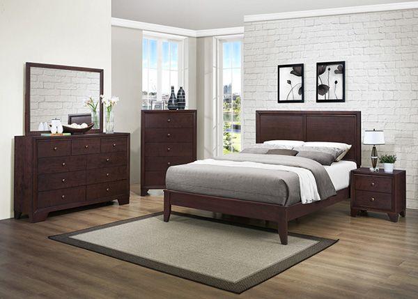 HOMELEGANCE KARI 3PC CLEAN WARM BROWN CHERRY WOOD BEDROOM SET (Clearance Sale!!) | Marjen of Chicago | Chicago Discount Furniture