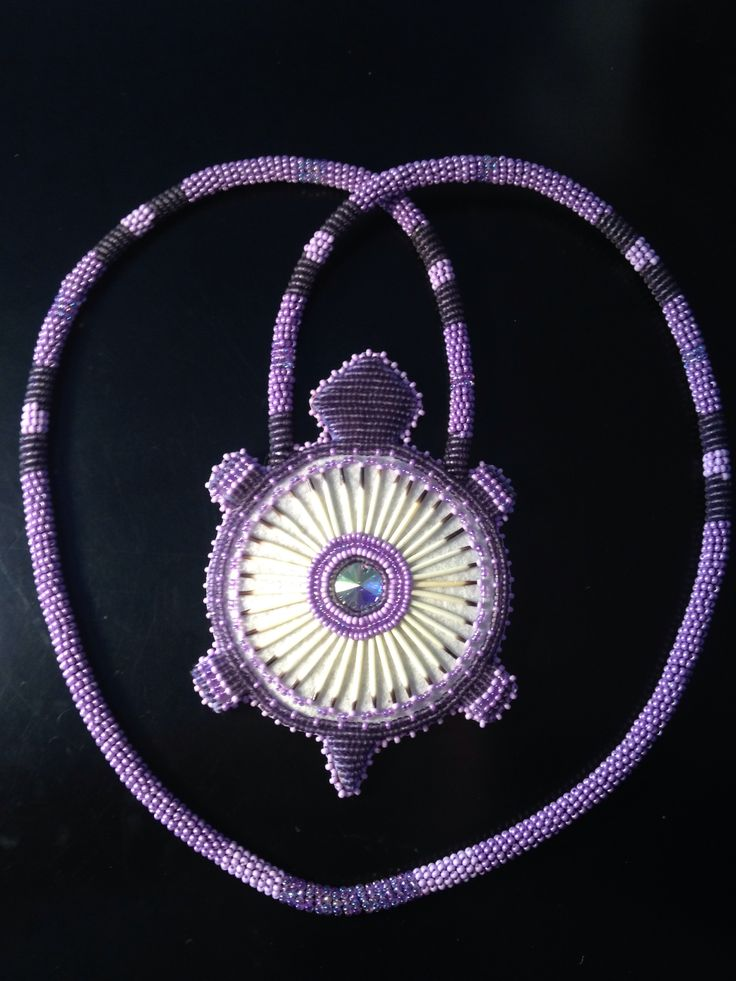 Custom order beaded quill turtle medallion