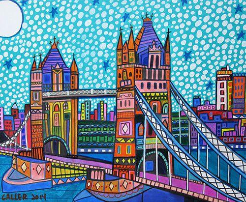 ORIGINAL Tower Bridge Painting London Canvas Heather Galler Folk art UK BRITAN