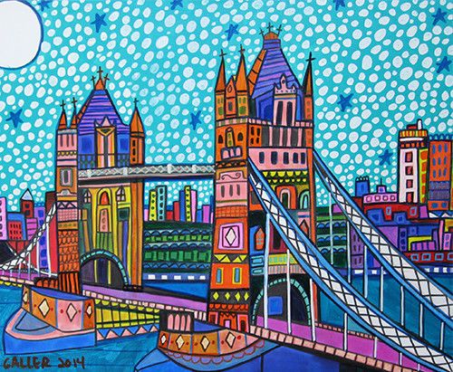 ORIGINAL Tower Bridge Painting London Canvas Heather Galler Folk art UK BRITAN
