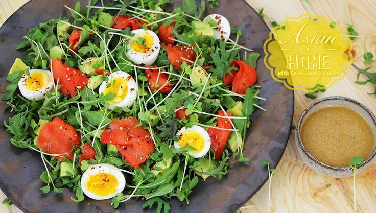 Smoked Salmon Salad with Miso Dressing