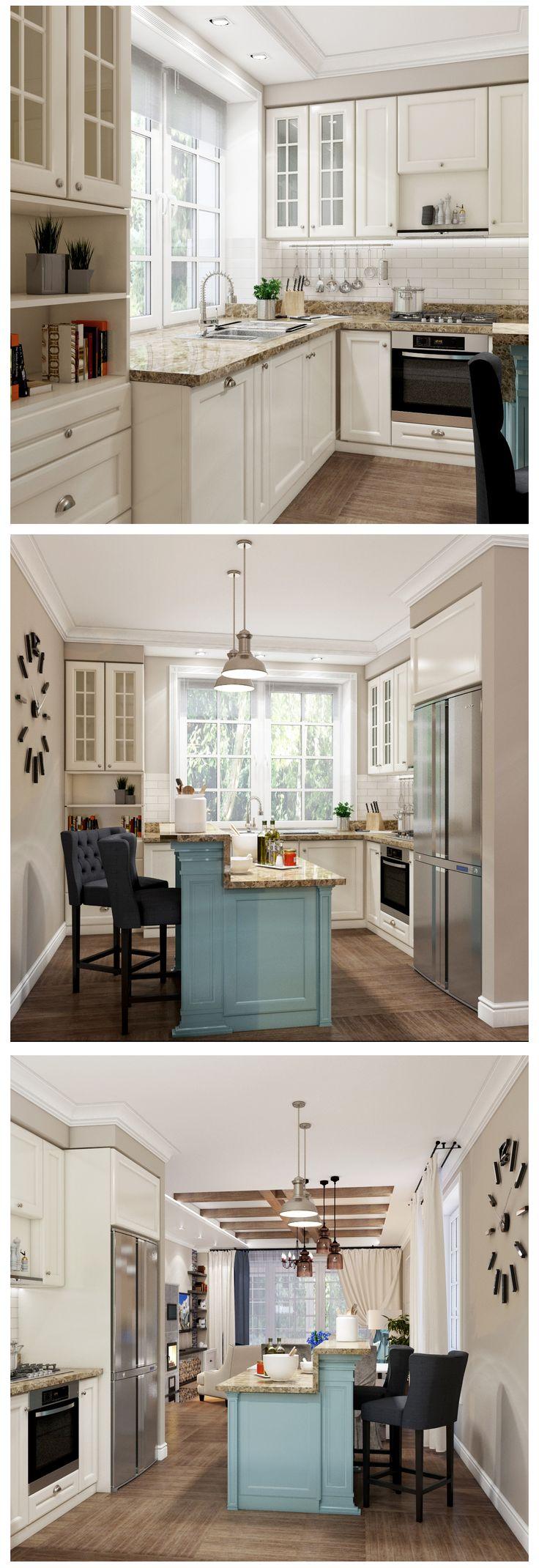 Кухня в Прибрежном стиле, гармоничное сочетание молочно белого, бежевого и пастельно синего цвета создают гармонию в пространстве. turquoise Kitchen Island