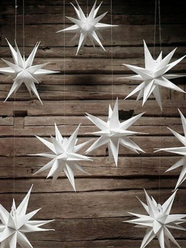 Weihnachtssterne basteln vorlagen kinder hängend deko