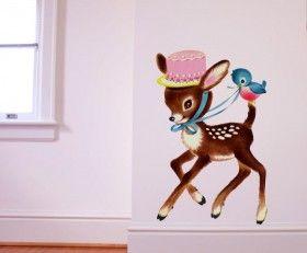 Muursticker Bambi met hoge hoed