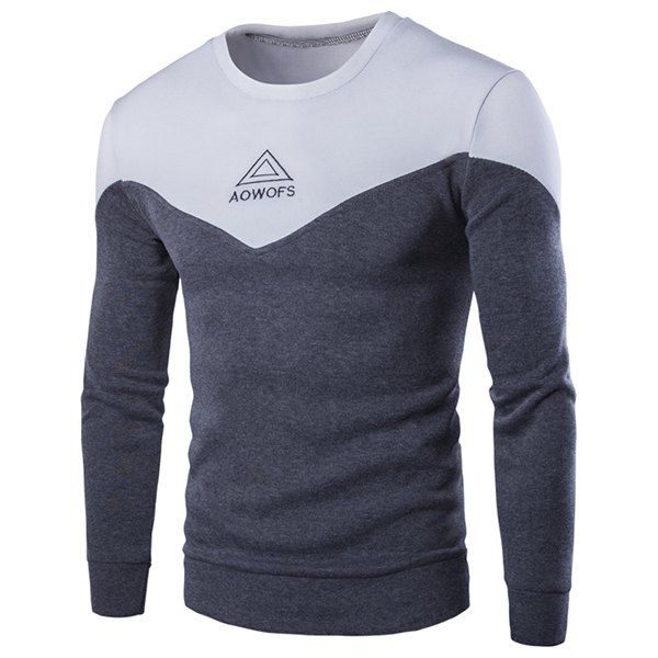 Round Neck Triangle and Letter Embroidered Spliced Long Sleeve Men's Sweatshirt