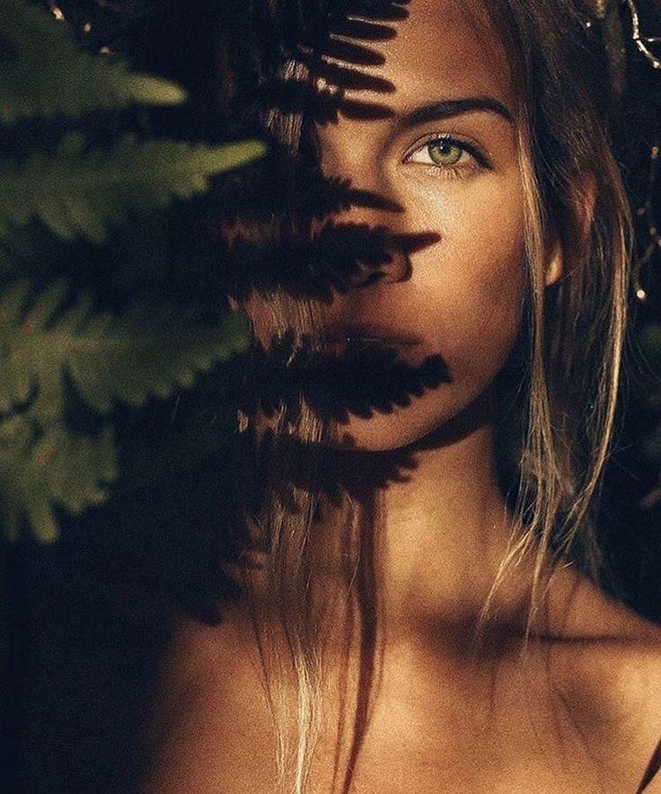 Portrait of 2 humans | girl sunlight hard light shadowplay shapes leaf direct light