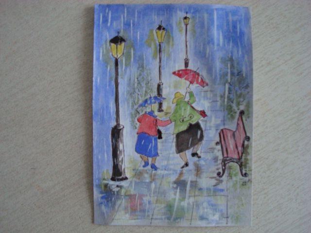 Убегающие от дождя... акварель. (открытка)