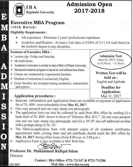 Rajshahi University MBA Admission Notice 2017-18Rajshahi - admission form school
