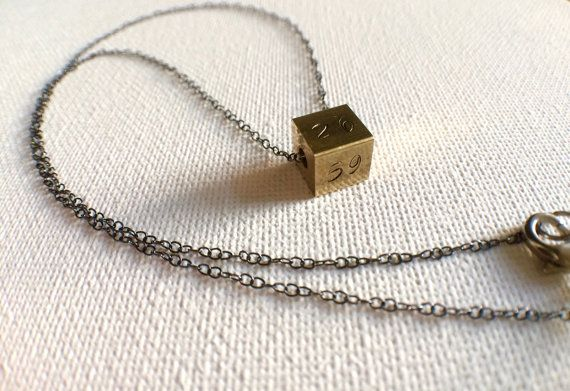 Brass Cube Custom Necklace Monogram Cube by PERCIVALandHUDSON