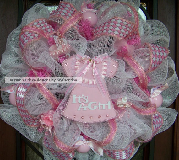Deluxe It's A Girl Baby Shower Little Pink Dress or Bib or Bloomers Deco Mesh Wreath