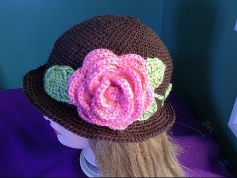 ▶ How to Crochet a Brimmed Flower Hat Part 1 - YouTube