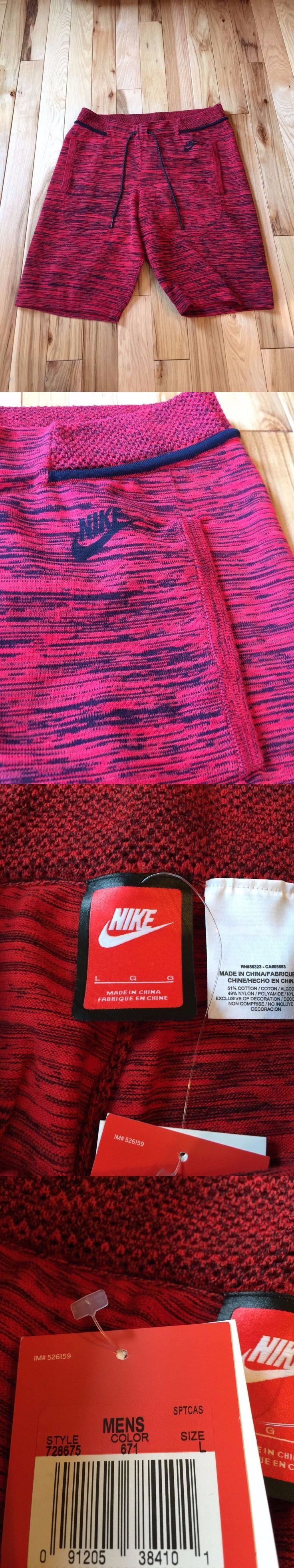 Men Athletics: Nike Tech Knit Mens Shorts Red Black 728675-671 Large Nwt ($150) BUY IT NOW ONLY: $51.99