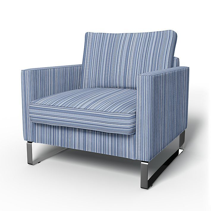 Mellby, Armchair Covers, Armchair, Regular Fit using the fabric Static Stripe Light Denim Blue