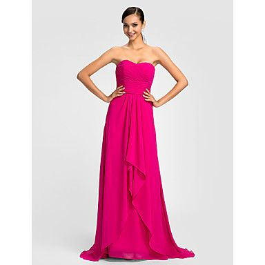 Dress Plus Size / Petite Sheath / Column Sweetheart Sweep / Brush Train Chiffon with Sash / Ribbon / Criss Cross / Ruching – CAD $ 118.83