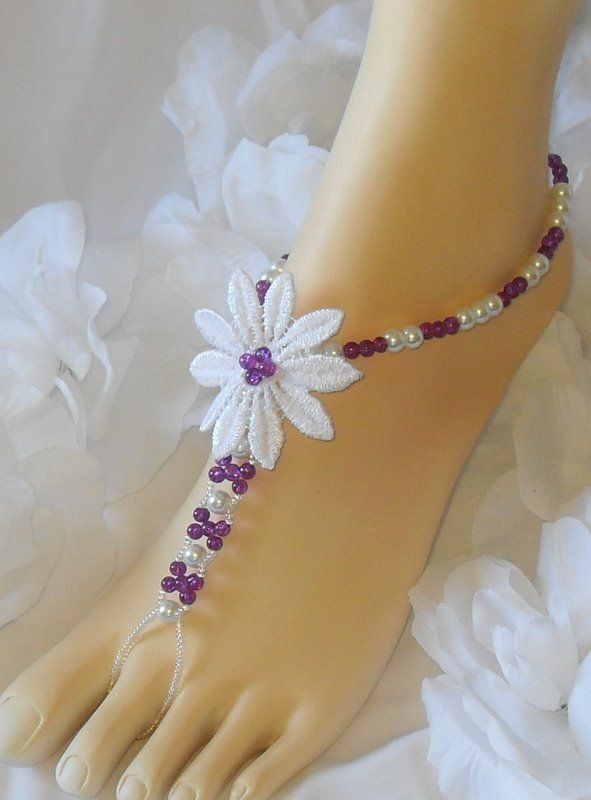 Is Barefoot Sandals an oxymoron?  These are only decorations for your feet, because there is no sole, but people wear them for beach weddings, and sitting by the pool.  Cute! http://www.craftylady.com and www.pinkgypsy.com