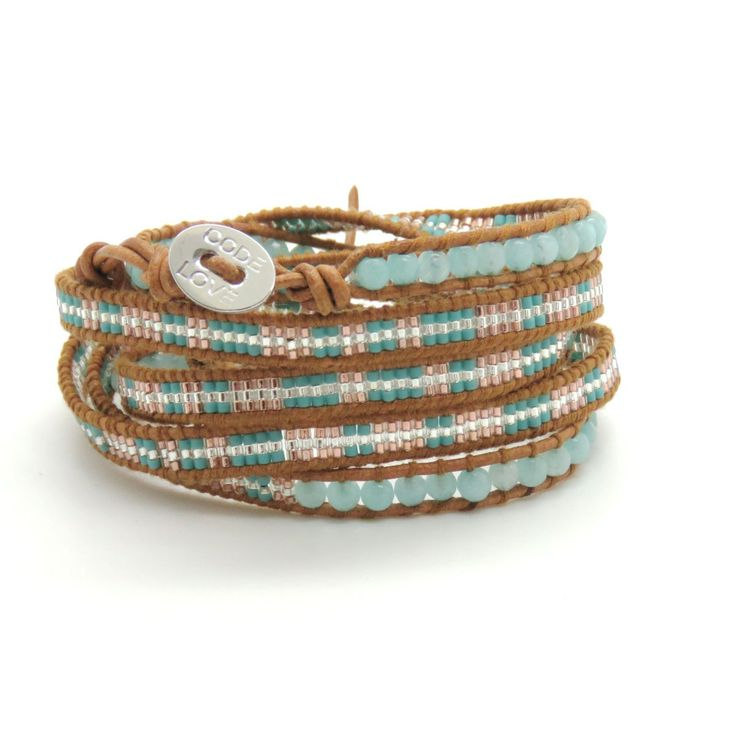 CODE LOVE 'JOURNEY' Morse Code Seed Wrap Bracelet - This bracelet has been hand crafted using the finest quality seed beads bound onto leather and finished with a signature Code Love button. www.codelove.com.au