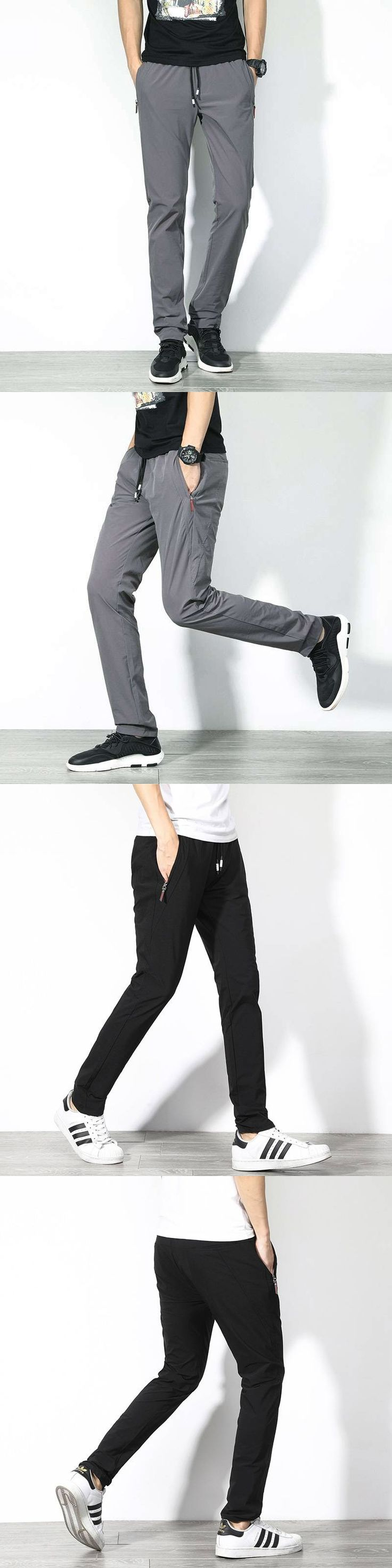 #1515 Black Straight trousers men Lightweight Casual pants Plus size 38-40 Sweat pants Spring summer 2018 Elastic waist trousers