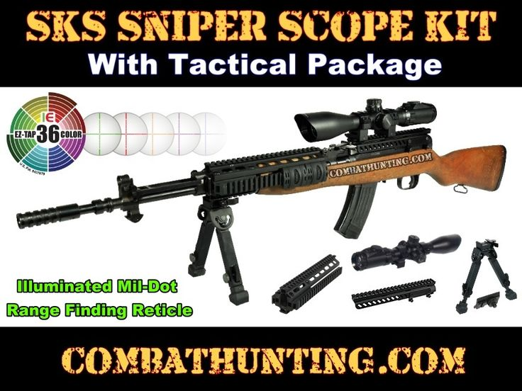 SKS Sniper Rifle Scope Combo Package Kit & Tactical SKS Receiver Cover Yugo Scope Mount With Integrated Sks Shell Deflector. SKS Sniper Rifle Scope 3-12x44 Mil-Dot F.S. IE 36 Color Scope (1) SKS Tactical Quad-Rail Forearm System (1) Rubber Armored Full Metal Qd Bipod. SKS Rifle Parts and Accessories.