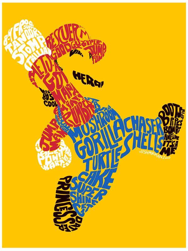 Mario Typography: Art, Supermario, Mario Typography, Video Games, Super Mario, Mario Bros, Mariobros, Design