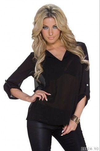 Φαρδιά σιφόν μπλούζα - Μαύρο