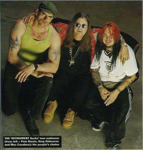 Peter Steele (Type O Negative), Ozzy Osbourne (Black Sabbath, Ozzy Osbourne), Max Cavalera (Sepultura, Soulfly) coutesy of Ozzy's facebook page
