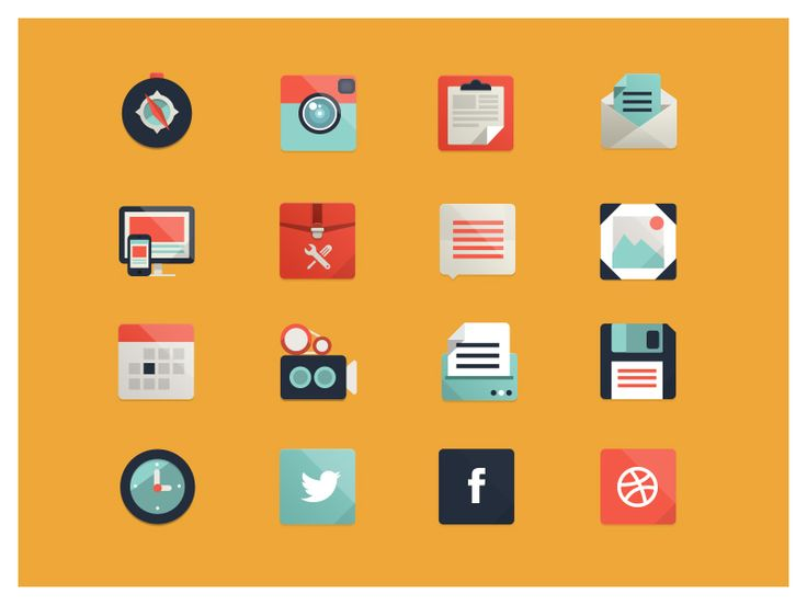 Flat Icons / Flat Design / Icons Design / Icons / Pictograms / flat icon design 08 35+ Examples of Modern Flat Icon Design / #flat