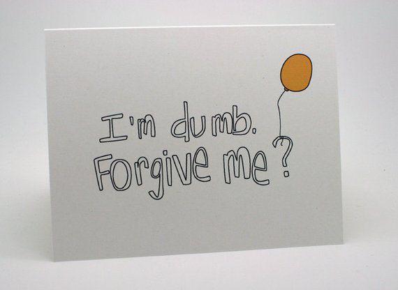 I'm Sorry Card – Balloon, yellow, I'm dumb, forgiveness, blank inside, apology greeting card