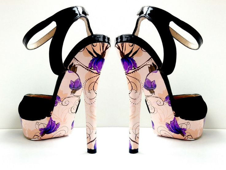 Pink with purple flowers design for decoration of women shoes