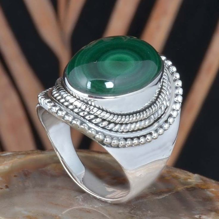 925 STERLING SILVER FANCY MALACHITE AMAZING RING 9.59g DJR11440 SZ-7.5 #Handmade #Ring