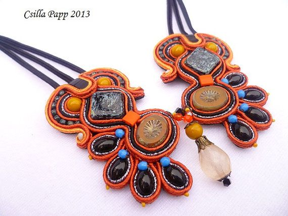 Soutache Necklace in orange and black with beads and by CsillaPapp