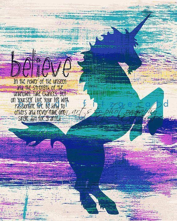 Unicorn Power. Mystical Nursery Kids Decor Quotable Fusion Paintographic Fine Art Print on Etsy, $20.00