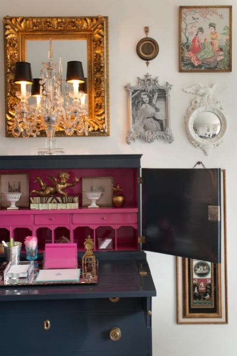 pink and black secretary desk