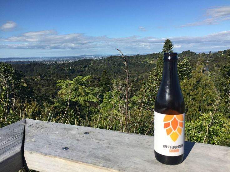 Hop Federation Golden Ale atop Waitakere lookout, New Zealand