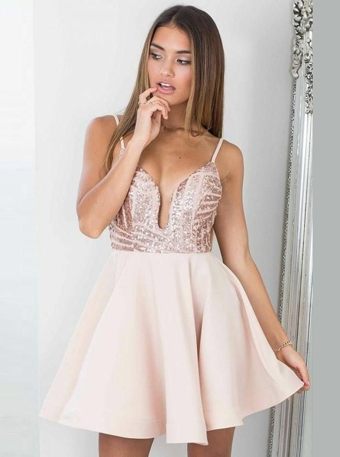 70cd9af2007 Pearl Pink Spaghetti Straps Backless Sequin Pleated Short Homecoming Dresses