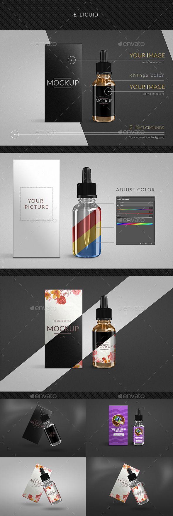 Vape smoking Liquid Bottle E-liquid - Product Mock-Ups Graphics