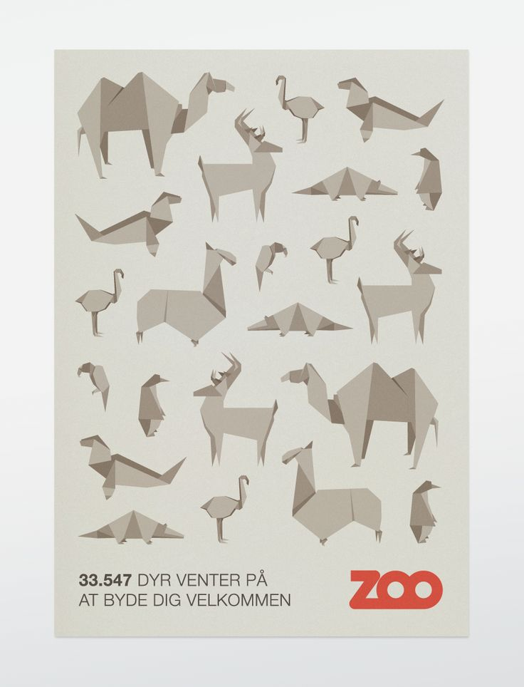 Origami animals Zoo poster by Bobby Monroe