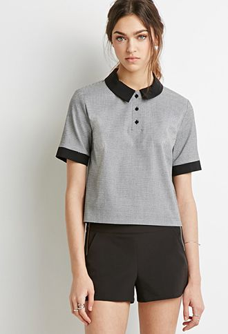 Houndstooth Polo Top | Forever 21 - 2002246651