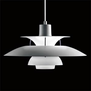 The original and classic design by Paul Henningsen, now superseeded by the PH 50 to celebrate the designs 50th anniversary. The original is designed for use with a 200w lamp, although is suitable for low energy alternative, the inside of the shade is coated red to warm the colour of the diffused light.