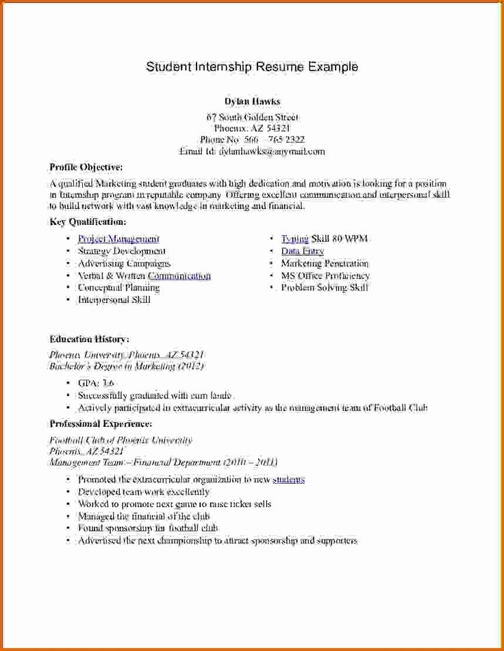 50 New Internship Resume Template Word in 2020