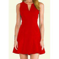 Stylish V-Neck Red Sleeveless Dress For Women
