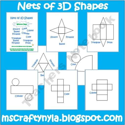Worksheet 3d Figures With Their Names And Nets 61 best math 3d nets images on pinterest shapes activities free of solids great to put in notebooks and take notes
