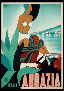 Abbazia, italy - Filippo Romoli, 1938 Riviera Adriatica - Vintage travel poster art deco #retro #riviera #essenzadiriviera.com - www.varaldocosmetica.it/en