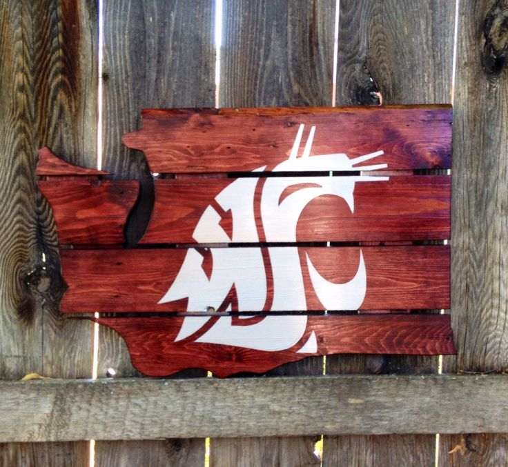 Recycled Pallet Washington State Cougars by IronBarkDesigns, $75.00~~ A bit much for my budget, but a fantastic idea for my WSU friends!